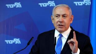 O Primeiro-ministro de Israel, Benyamin Netanyahu. 1 de Abril de 2019.
