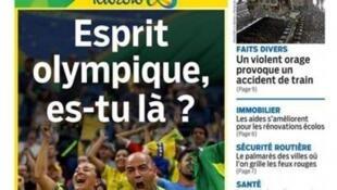 Capa do jornal Aujourd'hui en France desta quinta-feira, 18 de agosto de 2016, com a manchete: Será que os torcedores brasileiros têm espírito olímpico?