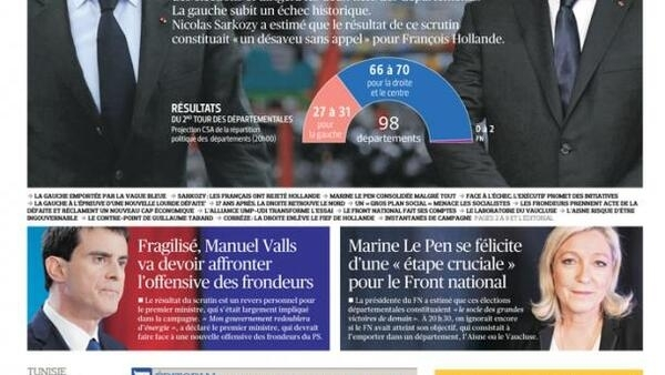 Capa do jornal francês Le Figaro desta segunda-feira, 30 de março de 2015.