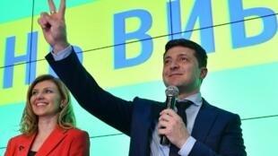 Le comédien Volodymyr Zelensky à son QG, le 31 mars 2019.
