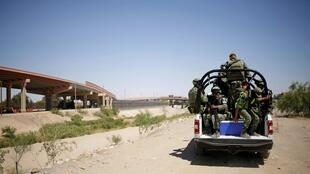 Une patrouille de soldats mexicains à la frontière avec les États-Unis, le 24 juin 2019.