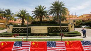 图为美国总统特朗普于佛罗里达州棕榈滩私人庄园 曾举行中美两国元首会晤