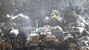 Sur la place de l'Indépendance, à Kiev, vendredi 21 février 2014.