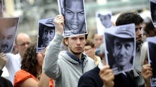 A demonstration to support the hostages in Nantes earlier this month
