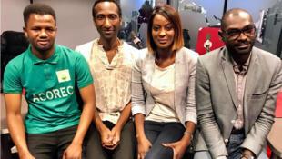 Ibrahim Diallo, membre de l'association ACOREC ; Dougokolo Konaré, fondateur et président de l'association KISAL ; Diara Ndiaye et Aziz, ingénieur et polytechnicien en risques environnementaux.