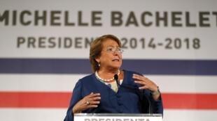 La presidenta electa de Chile, Michelle Bachelet, al anunciar la composición de su nuevo gabinete, Santiago,  24 de enero de 2014.