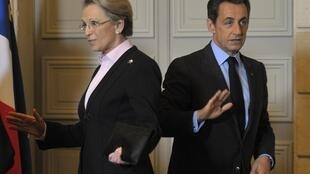 Soon to part company? President Nicolas Sarkozy with Michèle Alliot-Marie