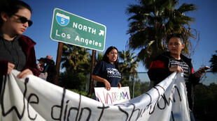 DACA recipient Barbara Hernandez (C), 26, participates in a protest for a clean Dream Act, in Anaheim, California, U.S., January 22, 2018.