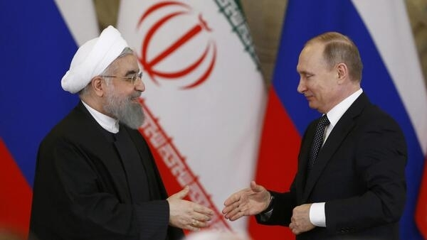 O presidente russo Vladimir Putin e seu homólogo iraniano Hassan Rohani em Moscou (2017)