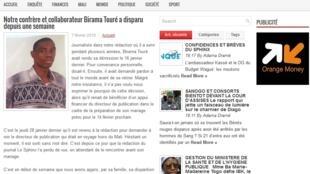 Capture d'écran du site de l'hebdomadaire privé malien «Le Sphinx» pour lequel a travaillé Birama Touré.