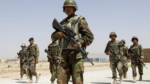 Afghan National Army soldiers take part in a training course at Camp Hero in Kandahar