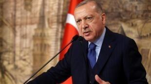 Turkey's President Recep Tayyip Erdogan in Istanbul, February 2020