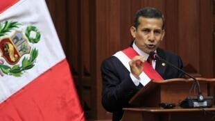El presidente peruano, Ollanta Humala, durante su discurso ante el Congreso Nacional el 28 de julio.
