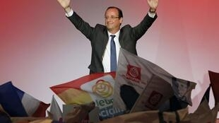 Socialist candidate François Hollande at an election rally in Besançon