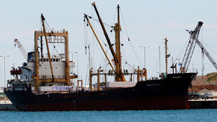 The Amalthea cargo ship being loaded with supplies at the port of Lavrio, south-east of Athens