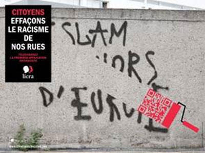 """""""Lets wipe racism off our streets!"""" a Licra poster"""