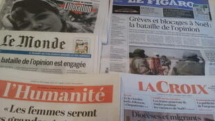 Primeiras páginas dos jornais franceses 16 de dezembro de 2019