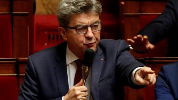 "Jean-Luc Mélenchon, líder do partido ""França Insubmissa""."