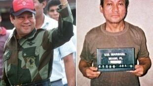 Мануэль Норьега в октябре 1989 в Панаме и в январе 1990 в тюрьме на Майами