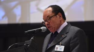 Léon Kengo wa Dongo, président du Sénat de la République démocratique du Congo lors de la 4e Conférence mondiale des présidents de parlements à New York le 31 août 2015.