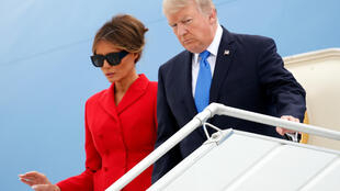 U.S. President Donald Trump and First Lady Melania Trump arrive aboard Air Force One at Orly airport near Paris, France, July 13, 2017.