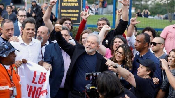Former Brazilian President Luiz Inacio Lula da Silva gestures after being released from prison, in Curitiba, Brazil November 8, 2019.