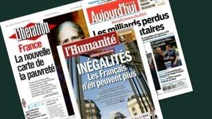 Capa dos jornais franceses Aujourd'hui en France, Libération, e L'Humanité desta segunda-feira, 18 de novembro de 2013