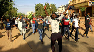 Sudanese demonstrators during anti-government protests in Khartoum, 25 December 2018.