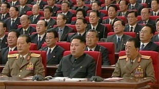 Kim Jong-Un (front centre), youngest son of North Korea's leader Kim Jong-Il, attends a meeting of the ruling Workers' Party in Pyongyang, 30 September 2010.
