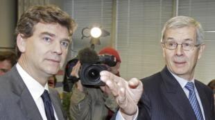 O CEO da PSA Philippe Varin (esquerda) com o ministro francês da Recuperação Produtiva, Arnaud Montebourg.
