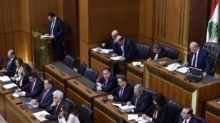 Le Premier ministre Hassan Diab lors du vote de confiance au Parlement, à Beyrouth, le 11 février 2020.
