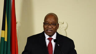 Former South African president Jacob Zuma announcing his resignation on television, Wednesday 14 February, 2018.