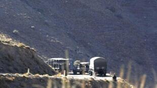 Algerian military vehicles near Ait Ouabane, where Hervé Gourdel was captured