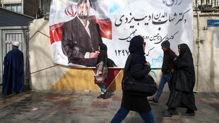 Une affiche de la campagne pour les législatives dans une rue de Téhéran, le 15 février 2020.