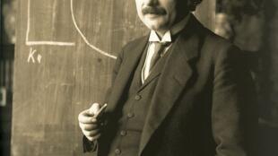 Albert Einstein during a lecture in Vienna in 1921 (age 42).