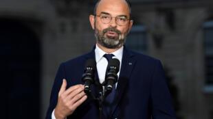 Le Premier ministre Édouard Philippe lors de sa conférence de presse concernant la réforme des retraites le 6 décembre 2019 à l'Hôtel de Matignon à Paris.