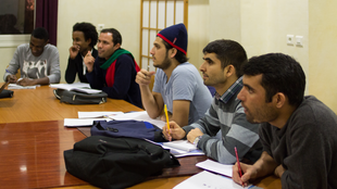 Some of the visiting students in a French class at the Ecole nationale supérieure (ENS)