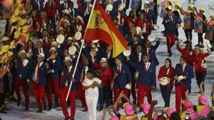 Flagbearer Rafael Nadal  of Spain leads his contingent during the opening ceremony of the 2016 Olympic Games in Rio on 5 August 2016.