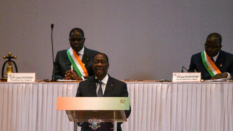 Le président Alassane Ouattara lors de son discours devant le Congrès ivoirien le 5 mars à Yamoussoukro.