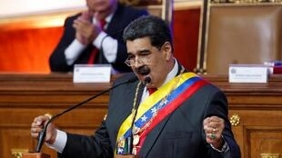 El presidente Nicolas Maduro ante el Parlamento en Caracas, 14 enero 2020.