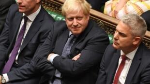 Le Premier ministre britannique Boris Johnson à la Chambre des communes à Londres le 19 octobre 2019, lors d'un débat sur l'accord relatif au Brexit.