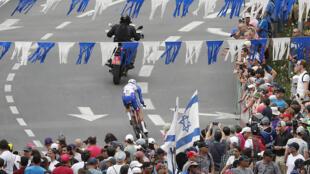 Le français Thibaut Pinot lors de la 1ère étape du 101ème Giro d'Italie en Israël, le 4 mai 2018.