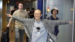 Bà Lưu Hà khi tới sân bay quốc tế Helsinki, Phần Lan, trước khi tới Đức, ngày 10/07/2018.