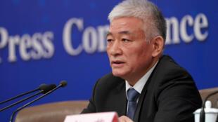 Bộ trưởng Khoa Học và Công Nghệ Trung Quốc Vương Chí Cương (Wang Zhigang) họp báo bên lề cuộc họp Quốc Hội Trung Quốc, Bắc Kinh, 11/03/2019.