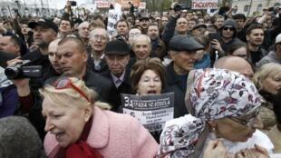 Manifestação contra o governo de Vladimir Putin em Moscou nesta segunda-feira, dia 6 de maio, reuniu 8 mil pessoas, de acordo com a polícia.