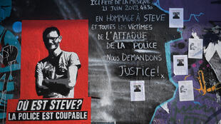 Graffitti and posters about Steve Caniço, whose body has now been identified.