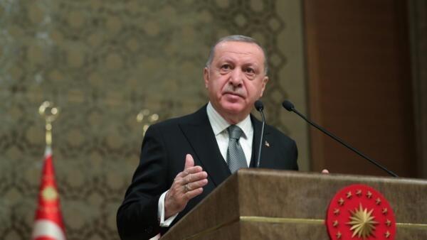 O presidente turco Tayyip Erdogan durante um simpósio em Ancara, em 2 de janeiro de 2020