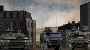 """法國陸軍""""蠍子""""(Scorpion)裝備中""""獅鷲""""(Griffon)和""""捷豹""""(Jaguar)裝甲車"""
