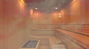 A steamy sauna