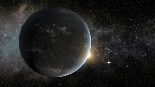 Reprodução artística do exoplaneta Kepler-62f orbitando em torno de sua estrela